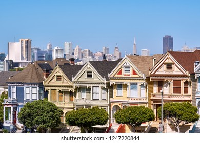 The Painted Ladies - Victorian style homes view from Alamo Square in San Francisco, California, USA
