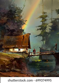 Painted landscape with rainbow and house