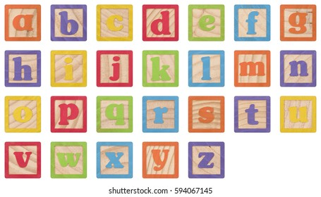Painted Lowercase Letters In Wooden Blocks Collection (with clipping paths)