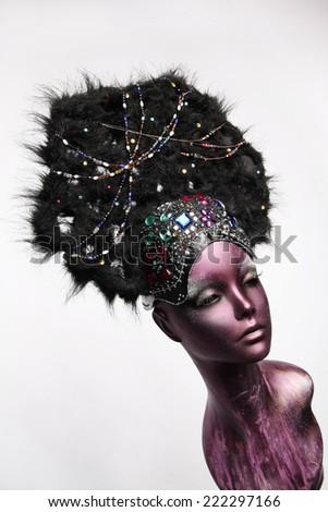 Painted Mannequin Girl Ethnic Headwear Stock Photo (Edit Now ... 729cc0c4943