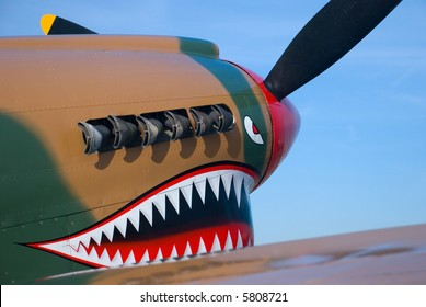 The painted nose of a P-40 Warhawk WWII fighter