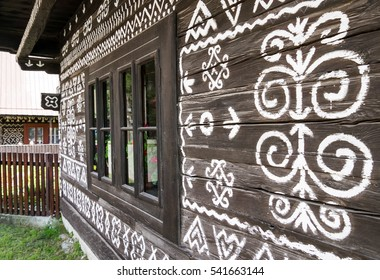 Painted old cottage in village Cicmany, Slovakia