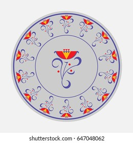 painted on a plate, flowers leaves, circular pattern, fully editable image