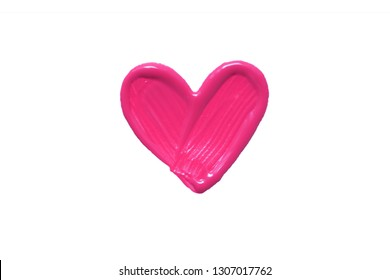 painted pink heart, white paper background, the concept of a symbol of love, isolated, white background