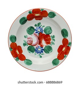 Painted plate isolated on white background