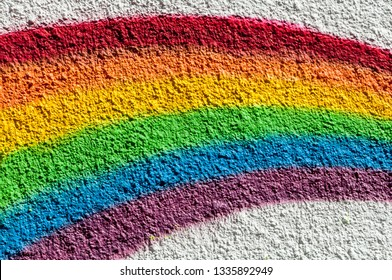 Painted Rainbow an white wall