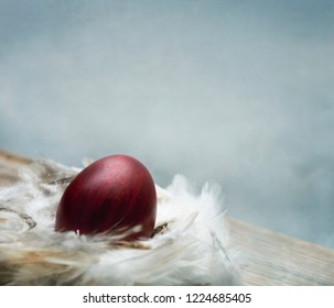 Painted red easter egg in bird feather nest over vintage blue artistic canvas textured background. Traditional creative easter still life wallpaper. Fine art print design. Minimal artwork concept.