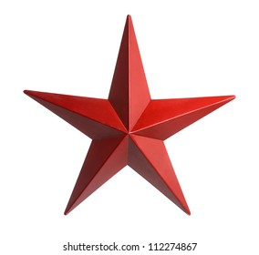 Painted red star isolated over white background - With Clipping Path
