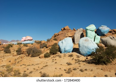 Painted rocks in Tafraoute, Morocco