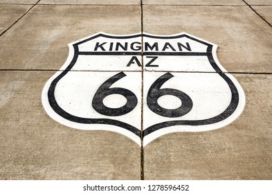 Painted sign on concrete in Kingman, Arizona, on Route 66