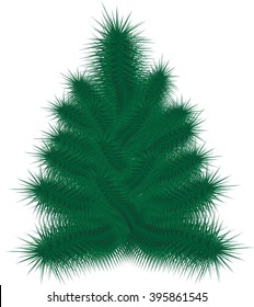 Painted symmetrical Christmas tree Christmas tree, pattern tree Fluffy Christmas tree Fluffy tree on a white background