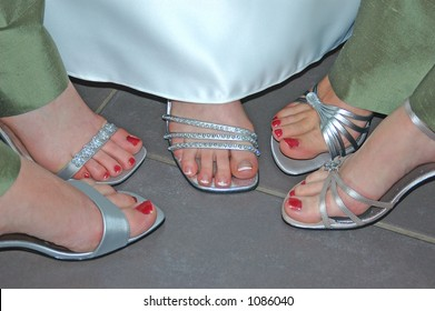 Painted toes of a bridal party