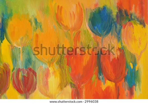 painted tulips in lots of colors to use as background