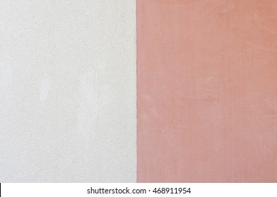 Painted in two colors wall. White and red