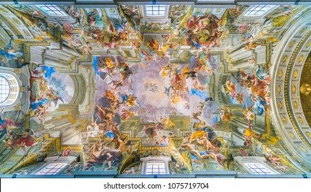 "The painted vault with the ""Apotheosis of Saint Ignatius"" by Andrea Pozzo, in the Church of Saint Ignatius of Loyola in Rome, Italy. November-18-2017"