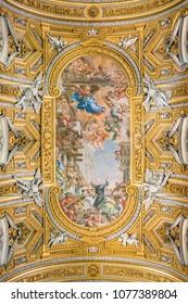 The painted vault by Pietro da Cortona, in the Church of Santa Maria in Vallicella (or Chiesa Nuova), in Rome, Italy. April-18-2018