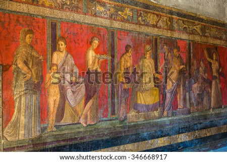 Painted wall in Pompeii