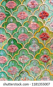 Painted wall texture in city palace in jaipur, jaipur, India