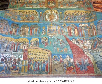 Painted wall at Voronet monastery (Unesco Heritage)