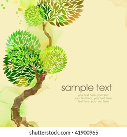 Painted watercolor card design with tree and text