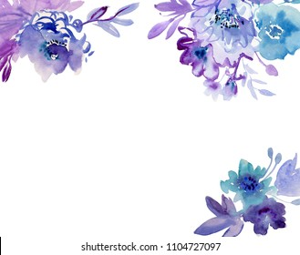 Painted watercolor composition of flowers with roses and blueberries. Frame, border, background. Greeting card. Valentine's Day, Mother's Day, wedding, birthday