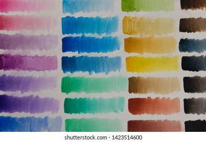 Painted watercolor swatch chart with various hues and shades - Multicoloured watercolour paint tabs with different shades on white canvas