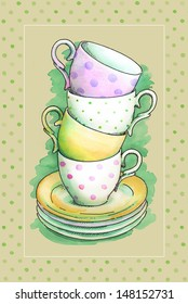 painted watercolor tea cups
