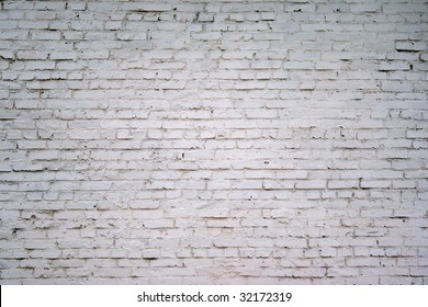 painted white brick wall