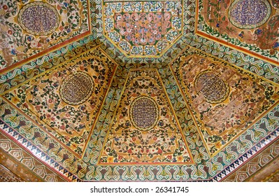 A painted wooden ceiling of the Bahia Palace in Marrakesh