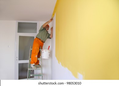 Painter in action