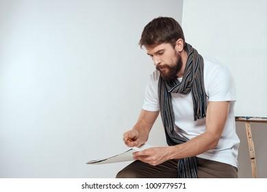 painter draws, canvas, art, draw