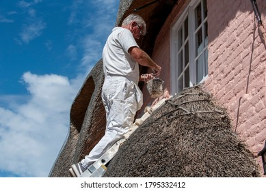Painter on a ladder using white paint to gloss the upper windows of an old thatched house