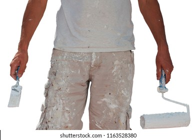 painter in work clothes in one hand brush in the other hand roller