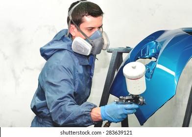Paintin blue car bumper by profesional.