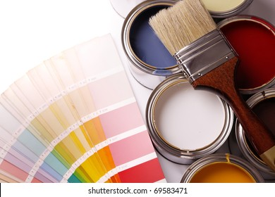 painting apartment! A lot of paint, paint cans, brush
