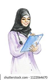 Painting arabian lady doctor. Watercolor portrait of beautiful business muslim woman. Hand drawn modern feminist illustration