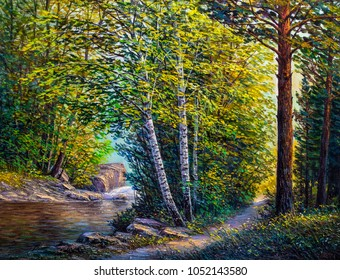 Painting of beautiful river with cascades in forest.Oil paintings, fine art.