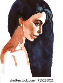 Painting beauty illustration. Watercolor fashion woman portrait. Hand drawn profile of young girl