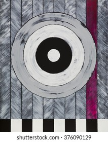 a painting of a black and white target