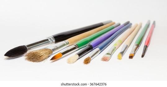Painting brushes on the white background isolated