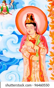 Painting Chinese style in Thailand Temple that there are a lot Story of gods on the wall