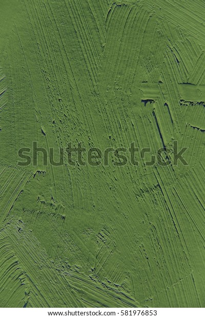 Painting close up of green kale pantone color, paint brush strokes  texture for interesting, creative, imaginative backgrounds. For web and design.