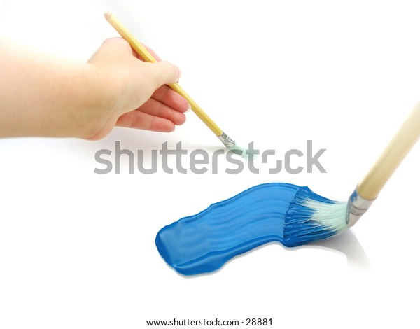 Painting collage: Hand with paint brush, and paint brush smearing blue paint onto a white surface.
