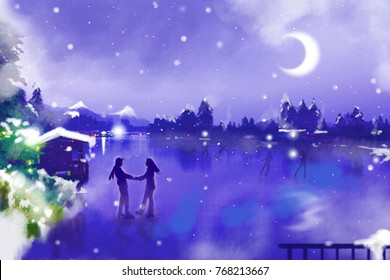 painting couple hold hand and skating on ice lake on night sky bakground.winter season.christmas holiday