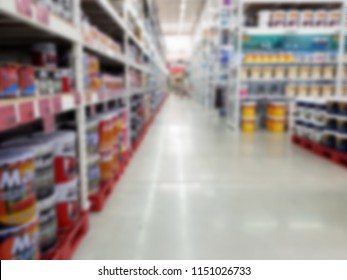 Painting department at hardware store blurry abstract background