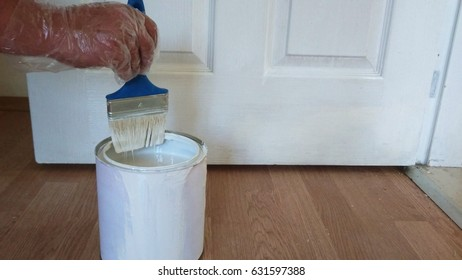 Painting of door or walls in a White color and box