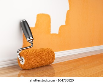 Painting of an empty wall. Renovation home. 3D illustration