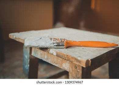Painting Equipment On The Wooden Table