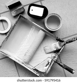 Painting equipment ready for action in black and white.