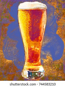 Painting of a foaming glass of beer